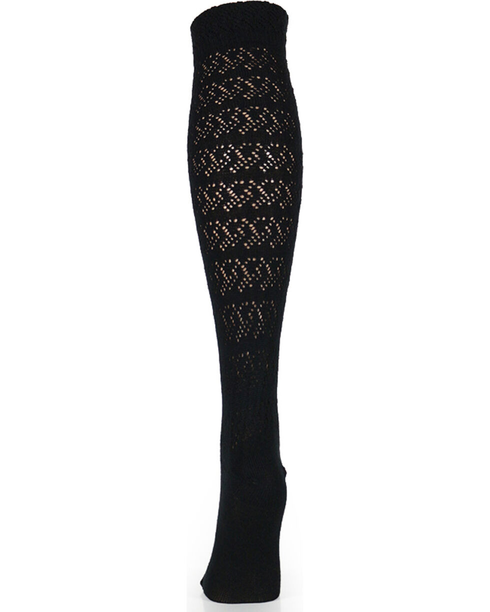 K. Bell Women's Black Ruffle Knee High Socks , Black, hi-res