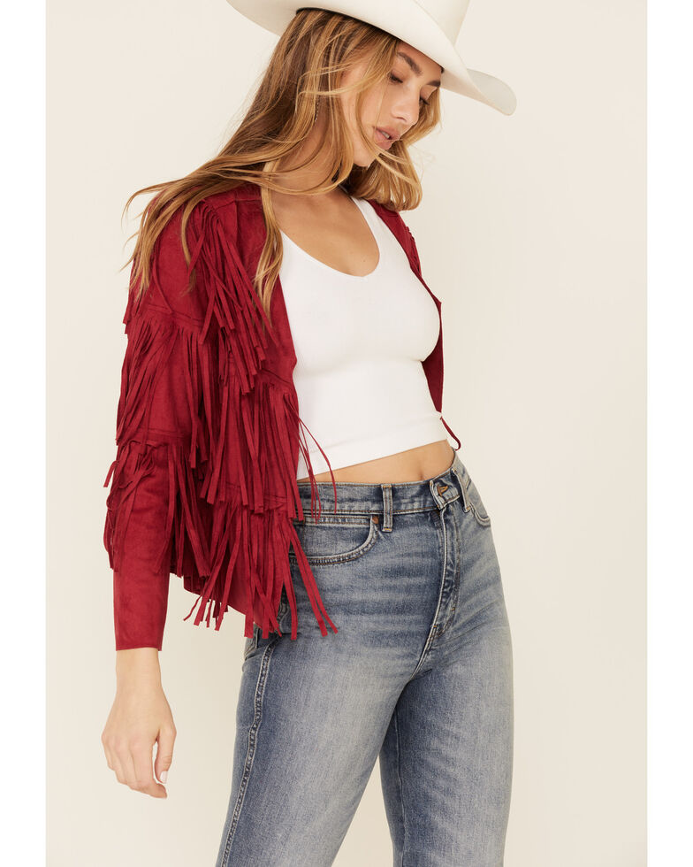 Vocal Women's Faux Suede Western Fringe Jacket , Red, hi-res