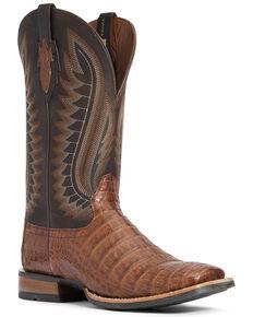 Ariat Men's Caramel Caiman Belly Western Boots - Wide Square Toe, Black, hi-res