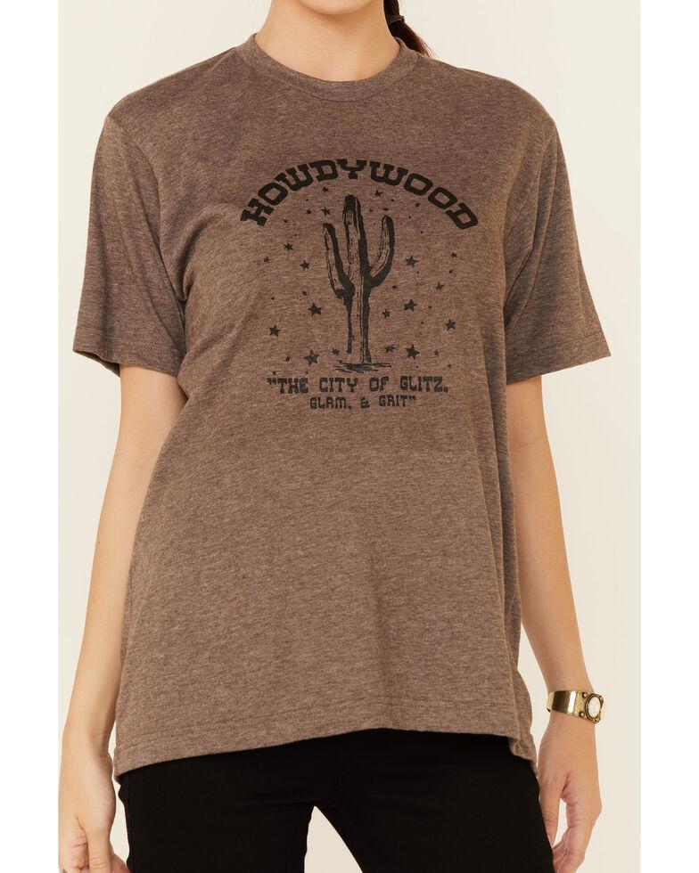 Ali Dee Women's Heather Brown Howdywood Graphic Short Sleeve Tee , Brown, hi-res