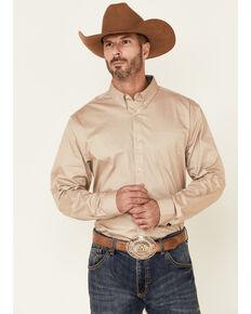 Cody James Core Men's Solid Tan Twill Long Sleeve Western Shirt , Tan, hi-res