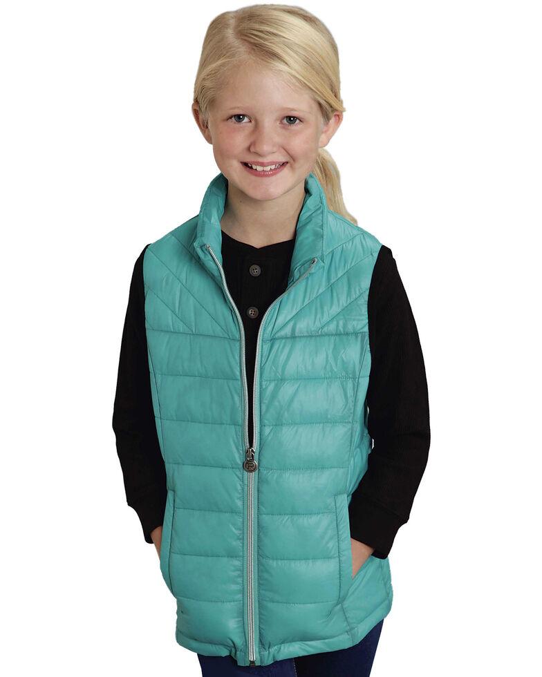 Roper RangeGear Girls' Crushable Vest , Turquoise, hi-res