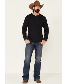 North River Men's Waffle Henley Knit Long Sleeve Shirt , Charcoal, hi-res