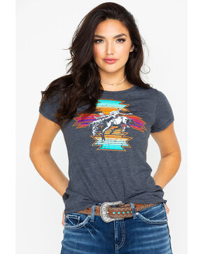 Rock & Roll Cowgirl Women's Aztec Serape Short Sleeve T-Shirt, Black, hi-res