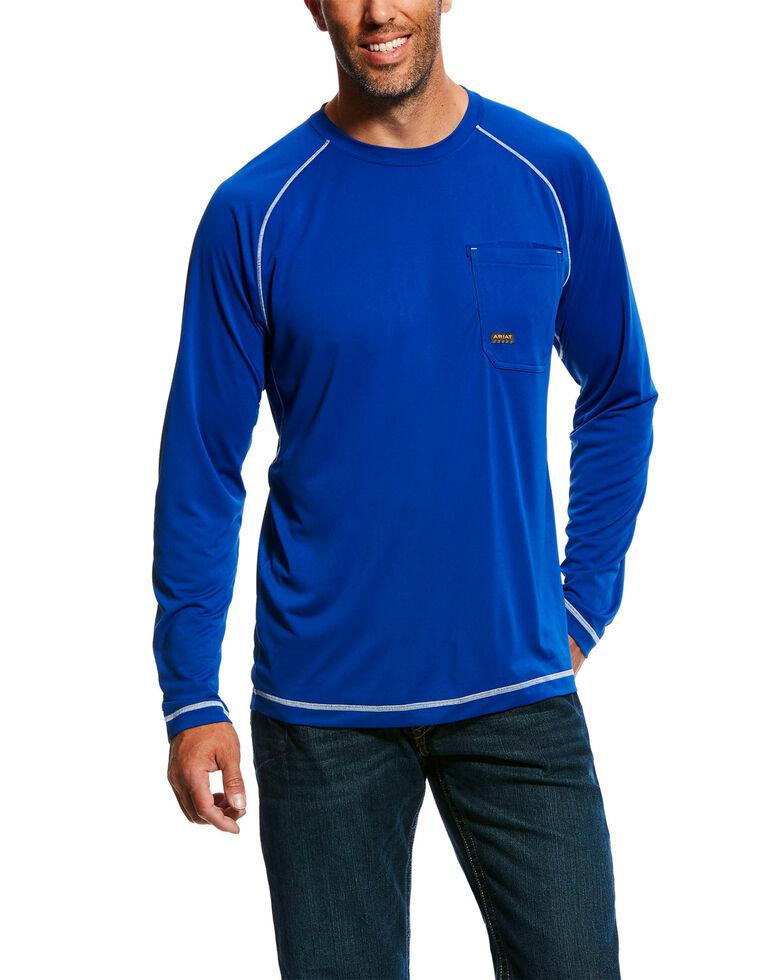 Ariat Men's Royal Rebar Sunstopper Long Sleeve Work Shirt , Royal Blue, hi-res