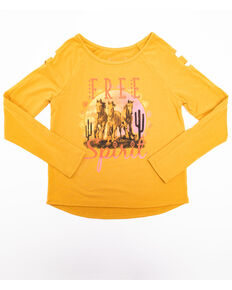Shyanne Girls' Free Spirit Long Sleeve Shirt, Yellow, hi-res