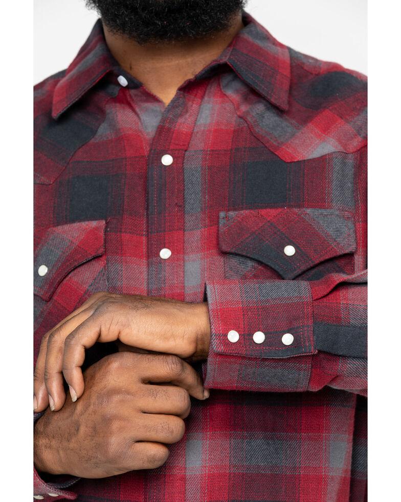 Ely Walker Men's Brawny Flannel Long Sleeve Western Shirt - Big , Burgundy, hi-res