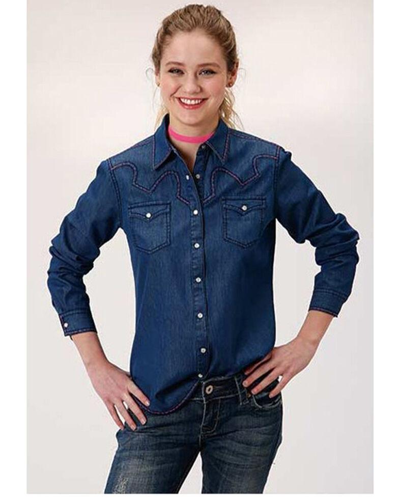 Roper Women's Medium Wash Contrast Yoke Long Sleeve Western Shirt , Blue, hi-res