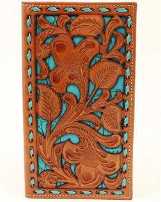 Nocona Men's Filigree With Turquoise Underlay Wallet, Tan, hi-res