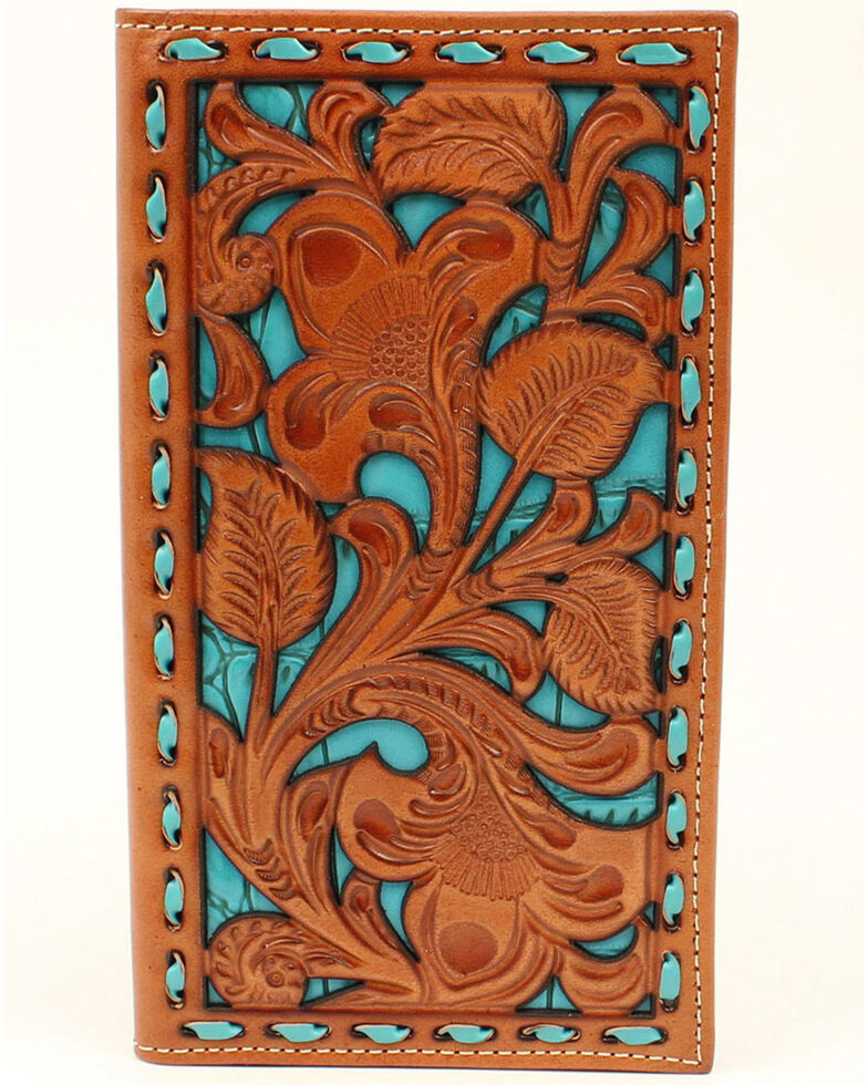 Nocona Men's Filigree With Turquoise Underlay Wallet, Tan, hi-res