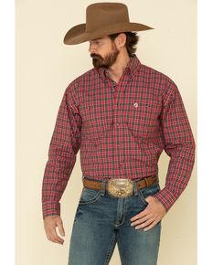George Strait By Wrangler Men's Red Med Plaid Long Sleeve Western Shirt , Red, hi-res