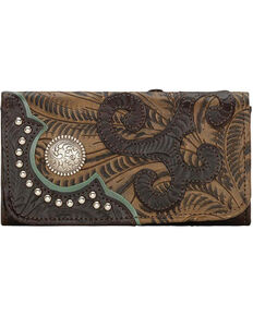 American West Women's Hand Tooled Tri-Fold Wallet, Chocolate, hi-res