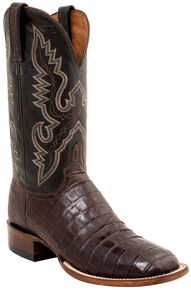 Lucchese Men's Handmade Caiman Tail Roper Boots - Square Toe, Barrel Brn, hi-res