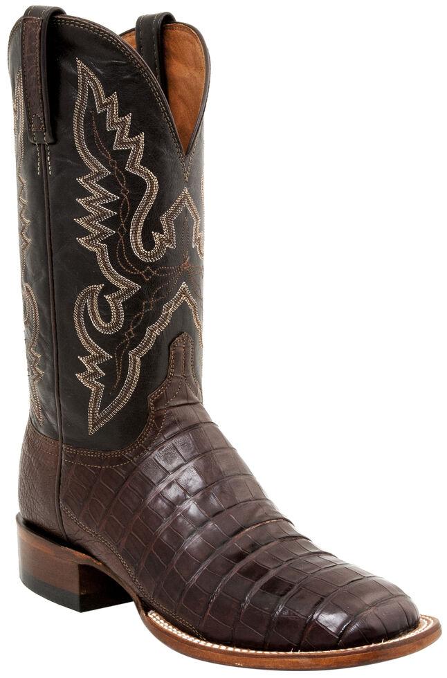 Lucchese Men's Handmade Caiman Tail Roper Boots - Square Toe, Barrel Brn, hi-res