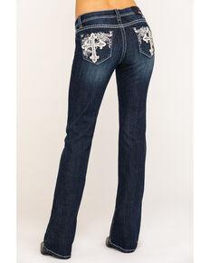"""Grace in LA Women's Dark Wash Cross 34"""" Bootcut Jeans , Blue, hi-res"""