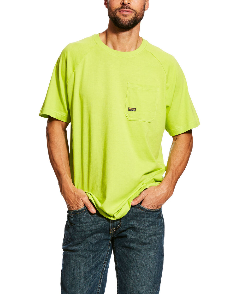 Ariat Men's Lime Rebar Cotton Strong Short Sleeve Crew Work Shirt , Green, hi-res