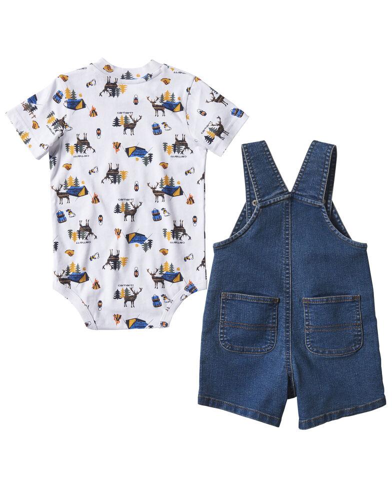 Carhartt Infant Boys' Camping Graphic Short Sleeve Onesie & Shortall Set , Indigo, hi-res