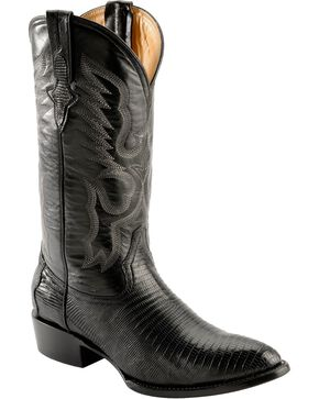 Ferrini Men's Black Teju Lizard Cowboy Boots - Medium Toe, Black, hi-res