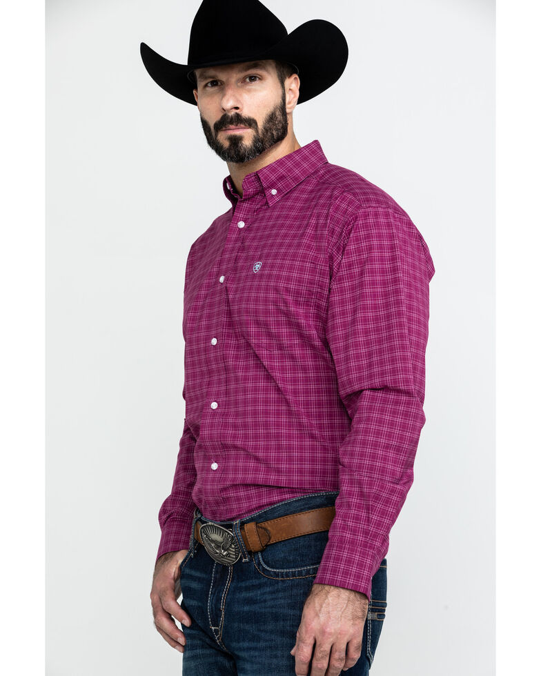 Ariat Men's Atticus Stretch Plaid Long Sleeve Western Shirt - Tall , Burgundy, hi-res