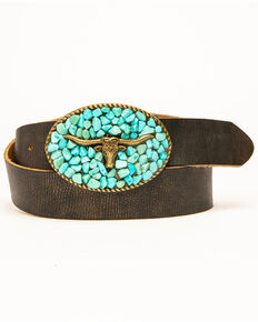 Idyllwind Women's Turquoise Longhorn Belt, Brown, hi-res