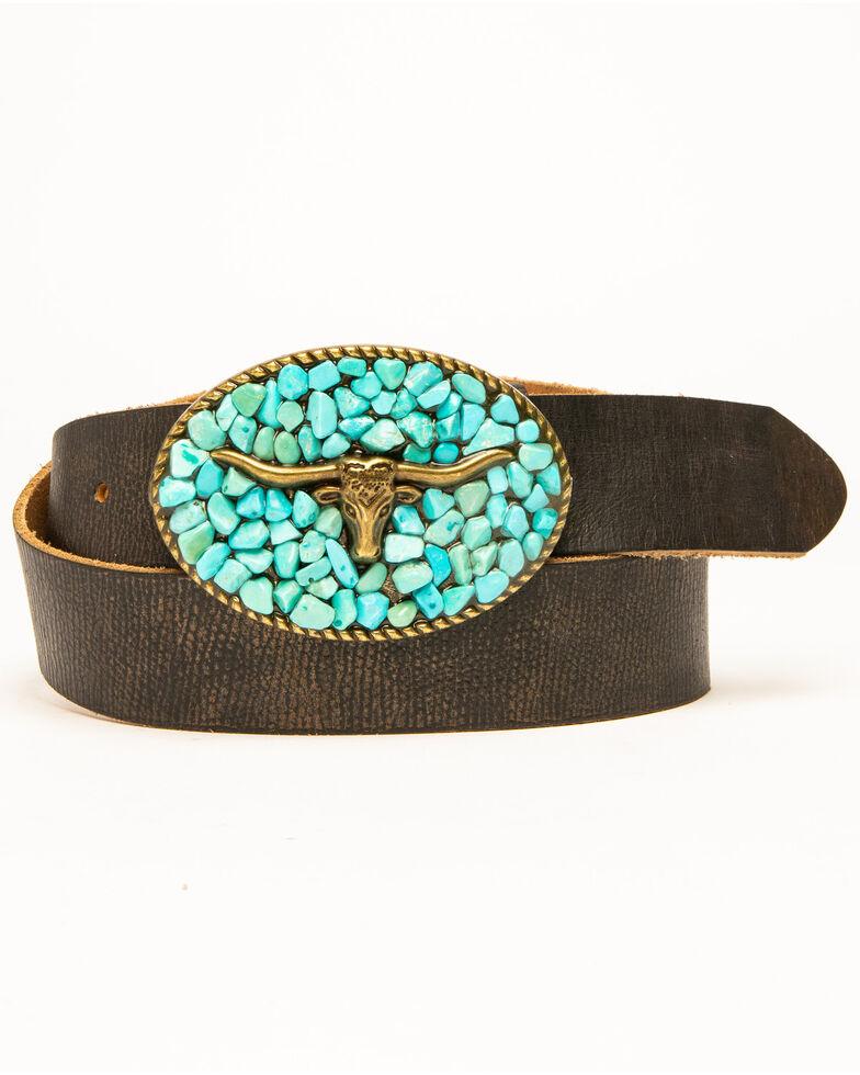 Idyllwind Women's Turquoise Longhorn Belt, Brown, hi-res