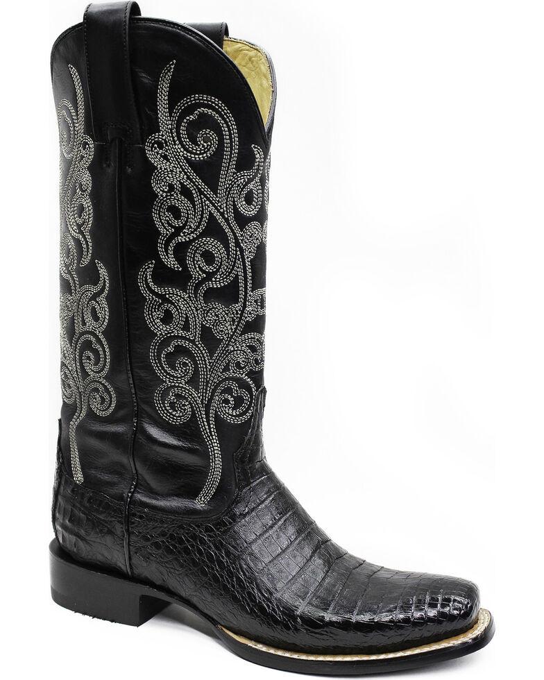 Stetson Women's Josie Black Caiman Western Boots - Square Toe, Black, hi-res