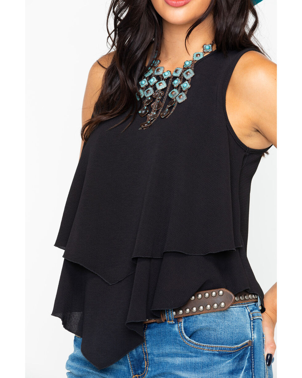 Panhandle Women's Crepe Double Layer Flutter Tank, Black, hi-res