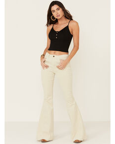 Saints & Hearts Women's Corduroy Flare Jeans, Cream, hi-res