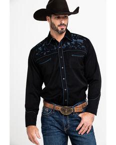 Scully Men's Rose Floral Embroidered Long Sleeve Western Shirt , Black, hi-res