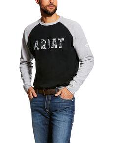 Ariat Men's FR Baseball Logo Crew Work T-Shirt - Tall , Grey, hi-res