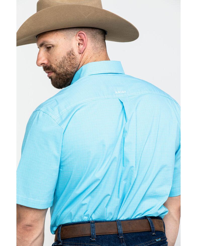 Ariat Men's Marino Stretch Small Plaid Short Sleeve Western Shirt , Turquoise, hi-res