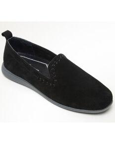 Minnetonka Women's Shay Suede Slip-On Shoes - Round Toe, Black, hi-res