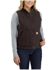 Carhartt Women's Dark Brown Washed Duck Sherpa Lined Vest , Brown, hi-res