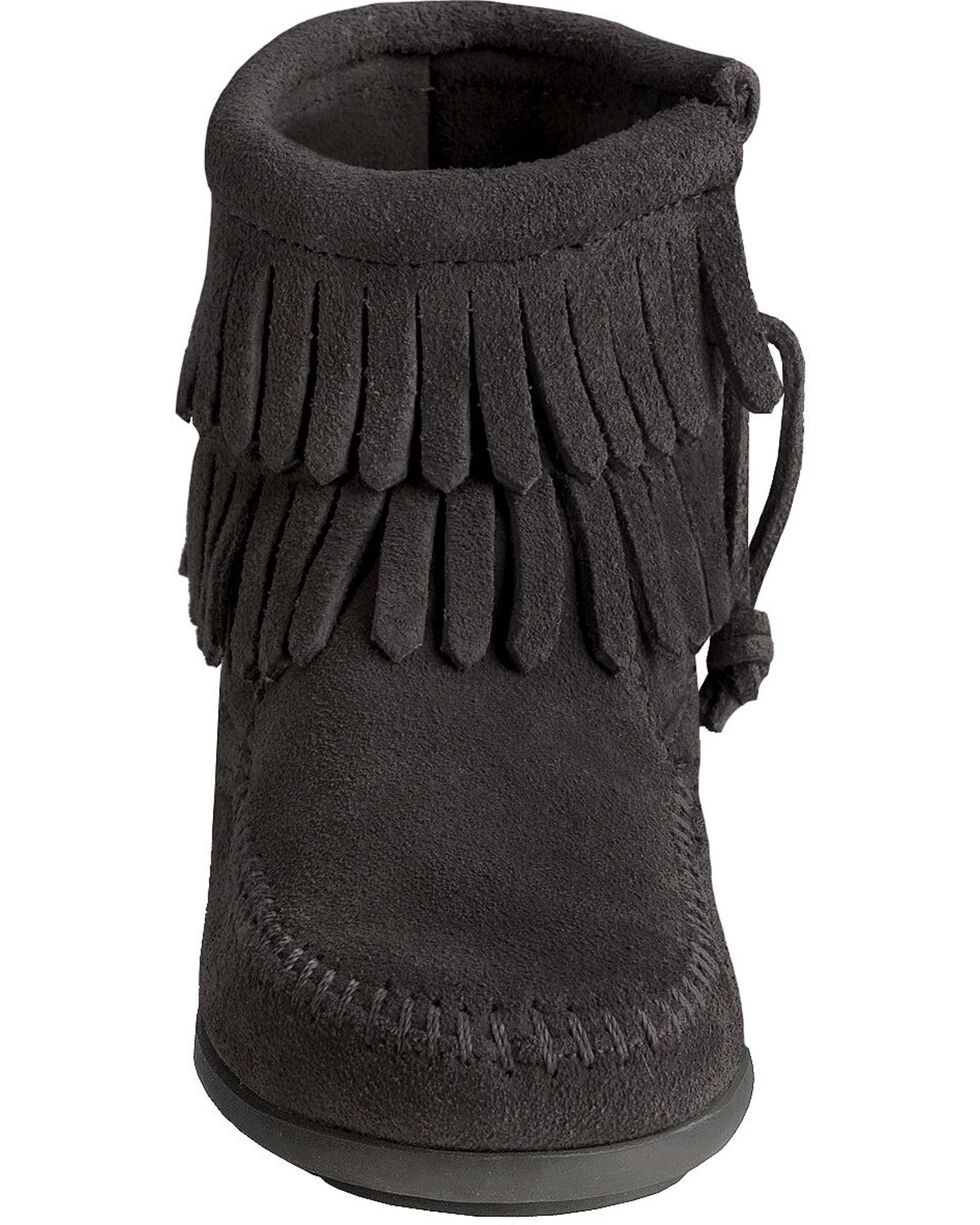 Minnetonka Girls' Double Fringe Side-Zip Moccasin Boot, Black, hi-res