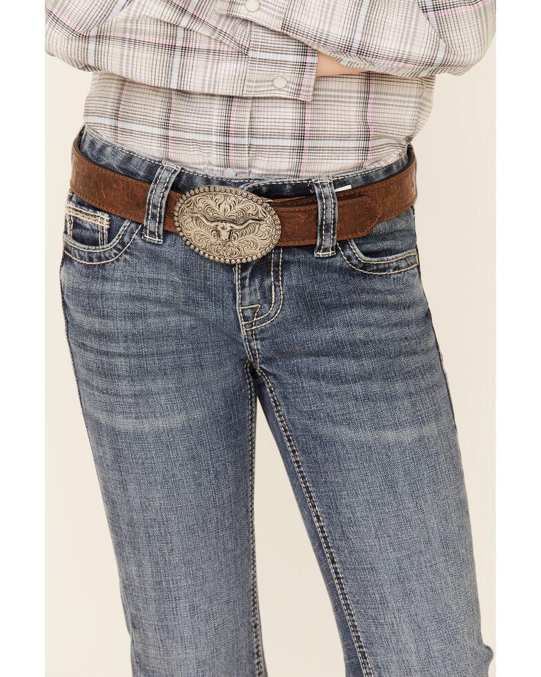 Rock & Roll Denim Girls' Medium Wash X Pocket Bootcut Jeans , Blue, hi-res