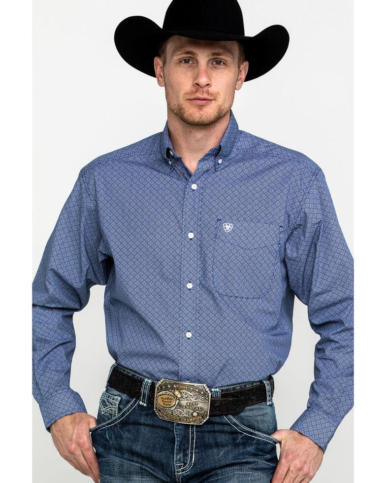 Ariat Men's Ramos Geo Print Long Sleeve Western Shirt , Blue, hi-res