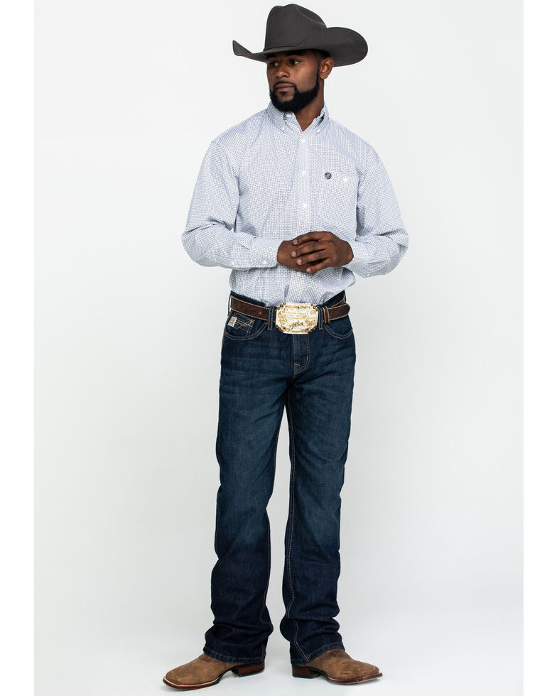 George Strait By Wrangler Men's Mint Small Geo Print Long Sleeve Western Shirt , Light Green, hi-res