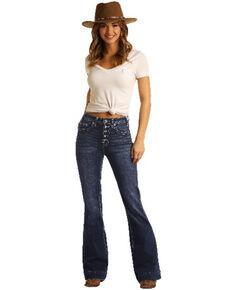 Panhandle Women's Button Front Bootcut Jeans, Blue, hi-res