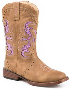 Roper Girls' Lexi Mesh Inlay Western Boots - Square Toe, Tan, hi-res