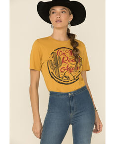 Country Deep Women's On The Road Again Vintage Graphic Tee , Mustard, hi-res