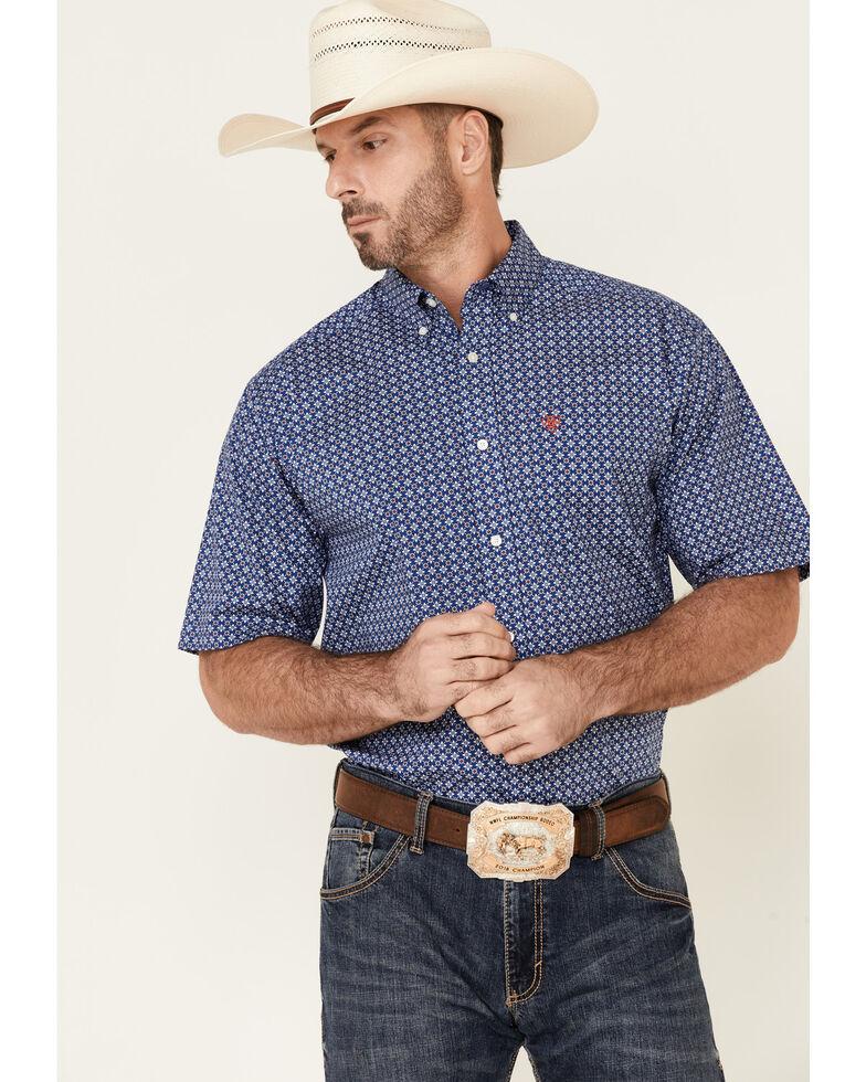Ariat Men's Bela Stretch Geo Print Short Sleeve Button-Down Western Shirt - Tall , Blue, hi-res