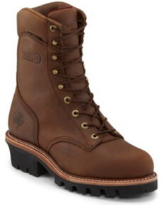 Chippewa Men's Tan Waterproof Logger Work Boots - Steel Toe, Tan, hi-res