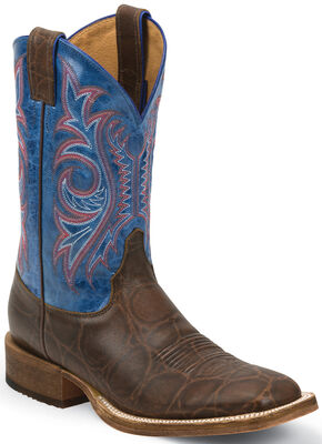 Justin Bent Rail Brown Mottle Cowboy Boots - Wide Square Toe, Brown, hi-res