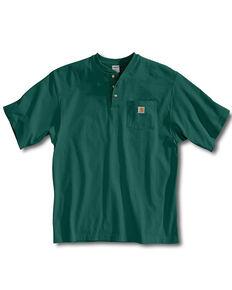 Carhartt Men's Solid Short Sleeve Henley Work Shirt, Green, hi-res