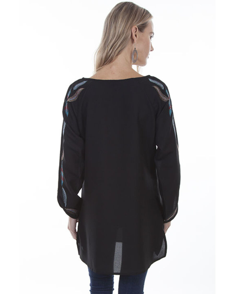Honey Creek by Scully Women's Black Embroidered Long Sleeve V-Neck Tunic, Black, hi-res