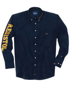 Resistol Men's Jutland Logo Solid Long Sleeve Western Shirt , Navy, hi-res