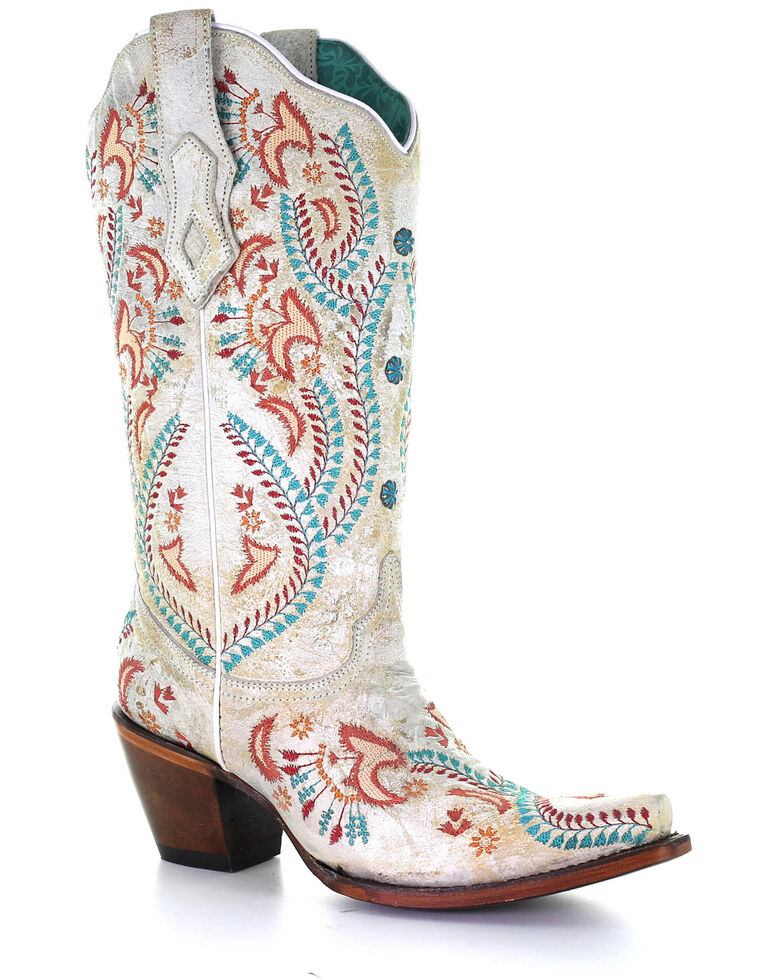 Corral Women's Turquoise Embroidery With Studs Western Boots - Snip Toe, White, hi-res