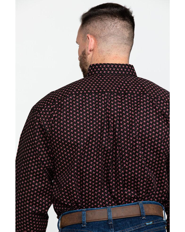 Panhandle Select Men's Brown Poplin Print Long Sleeve Western Shirt , Brown, hi-res