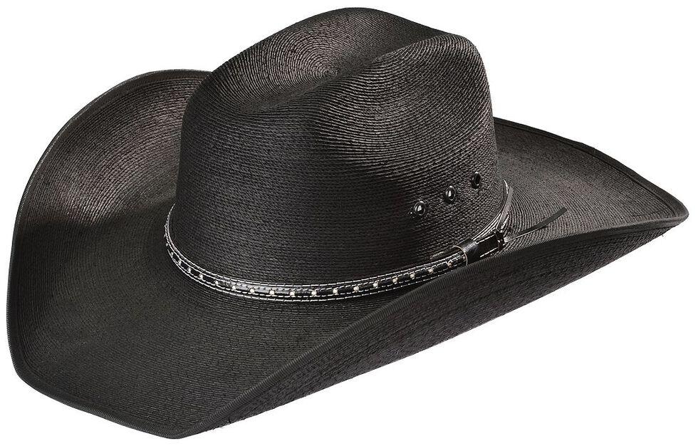 Bullhide Country Strong Palm Leaf Straw Cowboy Hat, Black, hi-res