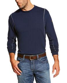 Ariat Men's Navy FR Crew Neck Long Sleeve T-Shirt - Tall, Navy, hi-res